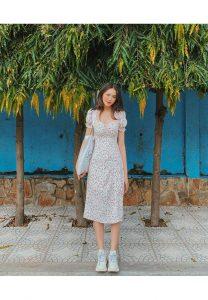Vĩnh Tài Floral Slit Dress